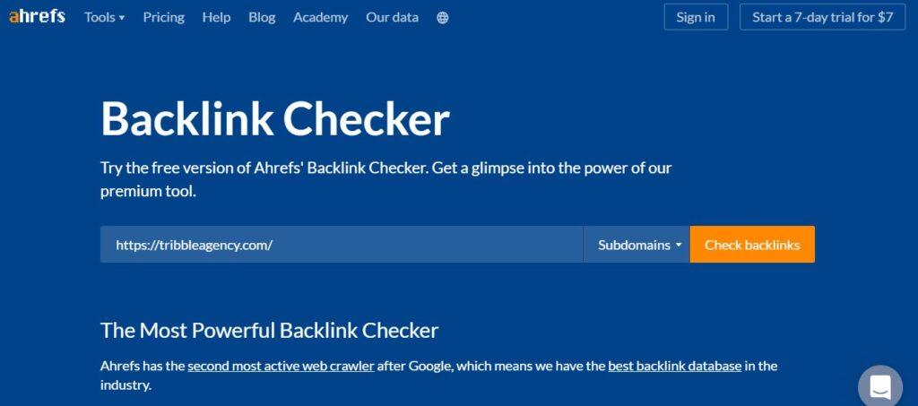 Ahref backlink checker