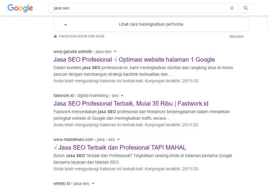 Hasil pencarian untuk Jasa SEO terbaik di Google